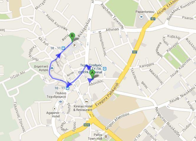 A - dworzec, B - parking (750 m), 2 minuty drogi