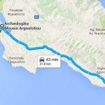 Mapa dojazdu samochodem z Katelios do powyższych atrakcji