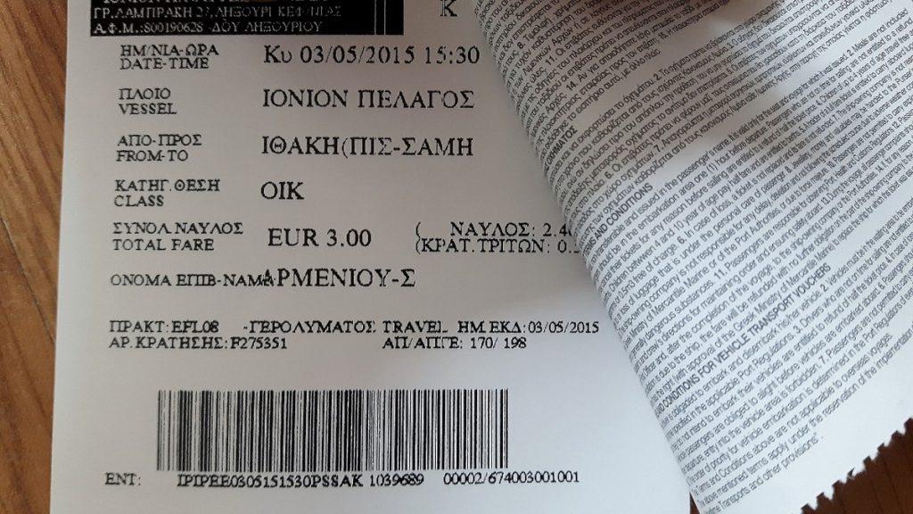 Bilet promowy na Itakę - cena za pasażera